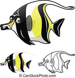 High Quality Moorish Idol Cartoon Character Include Flat Design and Line Art Version