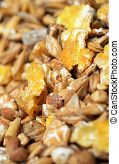 high quality natural sportive muesli background. for horse. ...