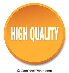 high quality orange round flat isolated push button