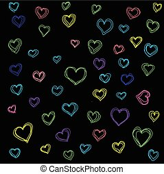 High quality original hand drawn Pattern with colored hearts for