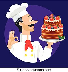 chef with strawberry and blueberries cake