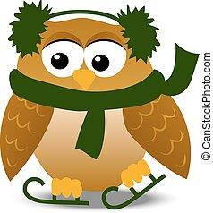 christmas owl in santa hat