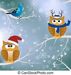winter card with birds