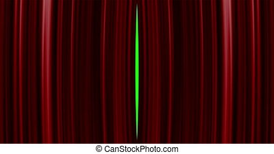 High quality perfectly red curtain opening transition background. Green screen included. 4K Resolution Ultra HD