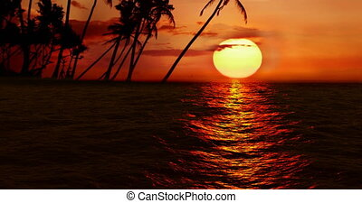 High quality perfectly seamless loop of sea ocean waves movement on sunset with palm island in background, high definition 1080 and 4k