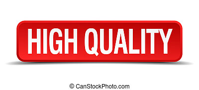 high quality red 3d square button on white background