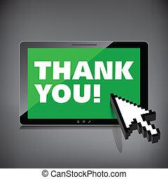 high-quality, remercier, tablette, screen., mots, vous, exposer