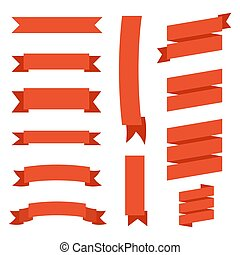 High quality set of flat and vintage style vector red ribbons