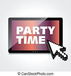high-quality, tablette, screen., mots, temps, fête, exposer