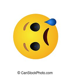 High quality vector round yellow cartoon bubble emoticons comment social media chat reactions, icon template face, stock illustration