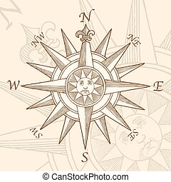 Vintage Compass Rose Engraving