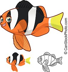 High Quality Yellowtail Clownfish Cartoon Character Include Flat Design and Line Art Version