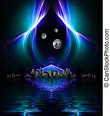 High res fractal design on black background reflected on...