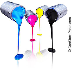 high resolution 3D rendering of a CMYK concept
