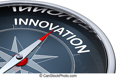 high resolution 3d rendering of a compass with a innovation icon