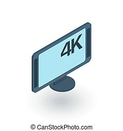high resolution 4k tv isometric flat icon. 3d vector
