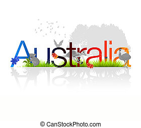 Australia - High resolution Australia illustration with...
