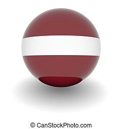 High resolution ball with flag of Latvia