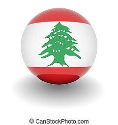 High resolution ball with flag of Lebanon