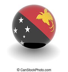 High resolution ball with flag of Papua New Guinea