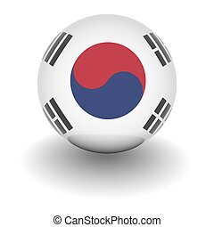 3D Ball with Flag of South Korea. High resolution 3d render isolated on white.