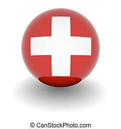 High resolution ball with flag of the Switzerland