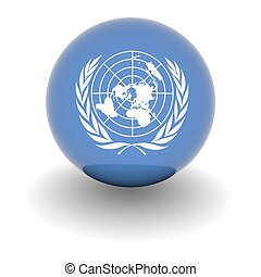 High resolution ball with flag of the United Nations - 3D...