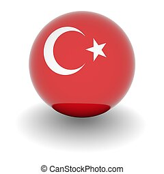 High resolution ball with flag of Turkey