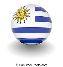 High resolution ball with flag of Uruguay