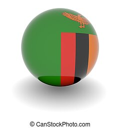 High resolution ball with flag of Zambia