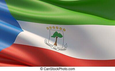 High resolution close-up flag of Equatorial Guinea. 3D ...