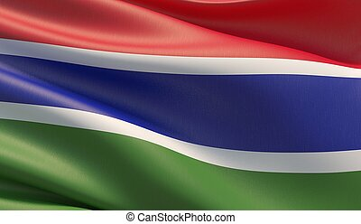 High resolution close-up flag of Gambia. 3D illustration.