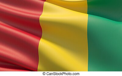 High resolution close-up flag of Guinea. 3D illustration.