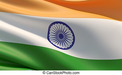 High resolution close-up flag of India. 3D illustration.