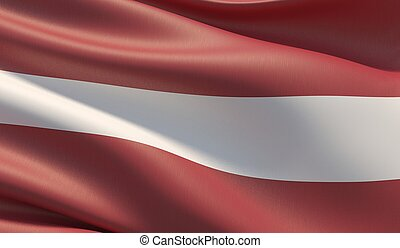 High resolution close-up flag of Latvia. 3D illustration.
