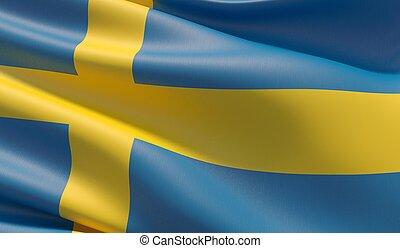 High resolution close-up flag of Sweden. 3D illustration.
