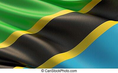 High resolution close-up flag of Tanzania. 3D illustration.