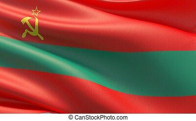 High resolution close-up flag of Transnistria. 3D illustration.