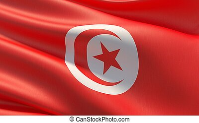 High resolution close-up flag of Tunisia. 3D illustration.