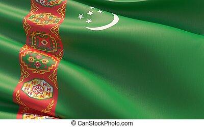 High resolution close-up flag of Turkmenistan. 3D illustration.