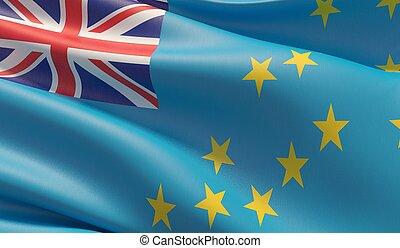 High resolution close-up flag of Tuvalu. 3D illustration.