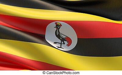 High resolution close-up flag of Uganda. 3D illustration.