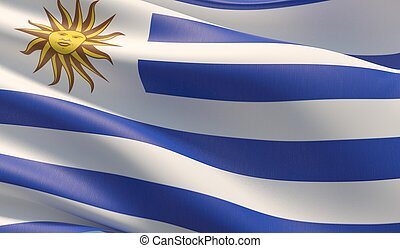 High resolution close-up flag of Uruguay. 3D illustration.