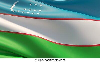 High resolution close-up flag of Uzbekistan. 3D illustration.