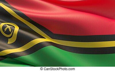 High resolution close-up flag of Vanuatu. 3D illustration.