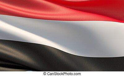 High resolution close-up flag of Yemen. 3D illustration.