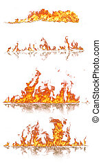 High resolution fire collection, isolated on black ...