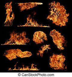 High resolution fire collection isolated on black background