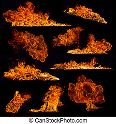 High resolution fire collection on black background - High ...