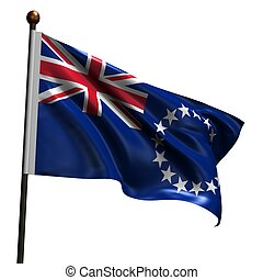 Flag of Cook Islands. High resolution 3d render isolated on white with fabric texture.